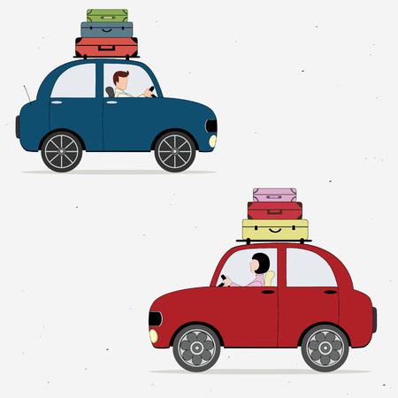 chauffeurs: Deux wagons charg�s de valises pilotes Illustration