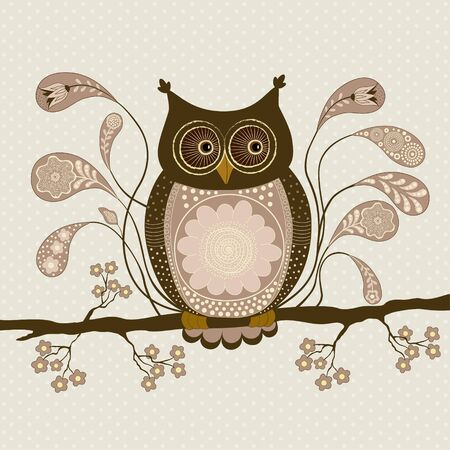 Cute stylized owl on a branch with decorative elements