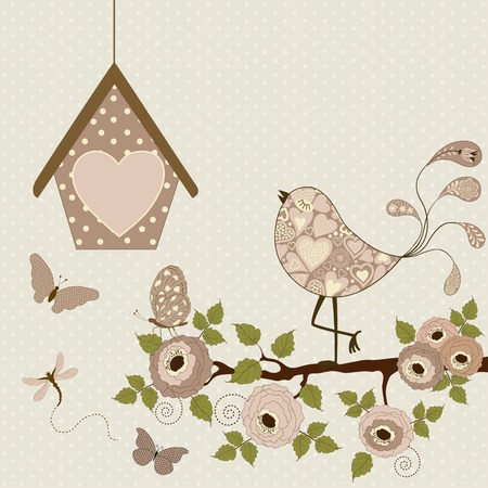 pink flower: Card with floral branch with stylized bird and butterflies and birdhouse