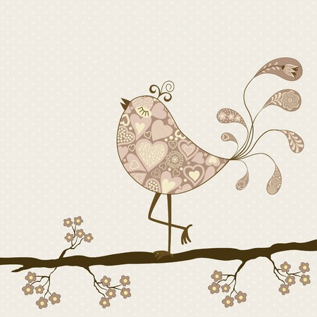 stylised: Card with floral branch and stylized bird