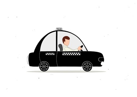 chauffeur: Black taxi car and taxi driver