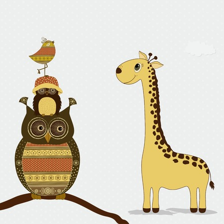 jirafa caricatura: Jirafa linda con los b�hos y aves en la rama