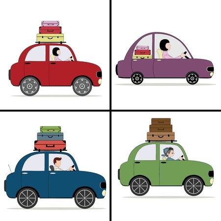 femme valise: Quatre dessin animé voiture de couleur avec des valises
