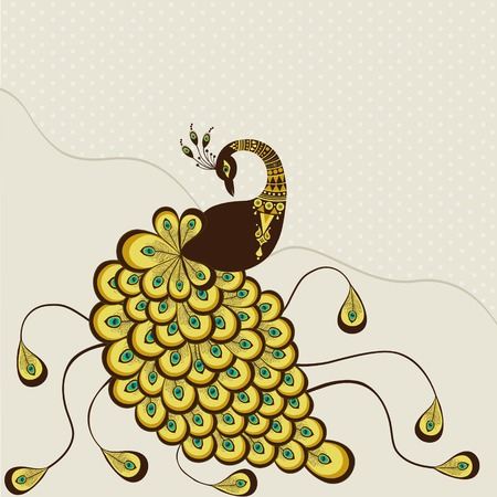 Stylized peacock yellow color on beige background Illustration