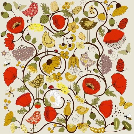 catarina caricatura: Tarjeta de felicitaci�n con flores estilizadas, mariposas y aves