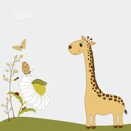 chamomile: Cute cartoon giraffe with chamomile and insects