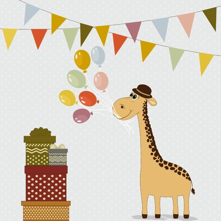gift packs: Cute cartoon giraffe with colorful balloons and gift packs Illustration