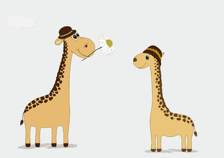 beige background: Two cute giraffes hats on beige background