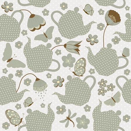 kettles: Seamless pattern with kettles and flowers, and butterflies Illustration