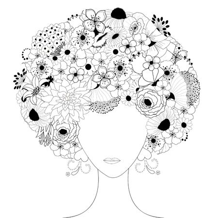 black and white flowers: Woman floral silhouette in black and white Illustration