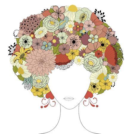 Woman floral silhouette Ilustrace