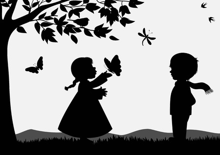Cute kids silhouettes Stock Illustratie