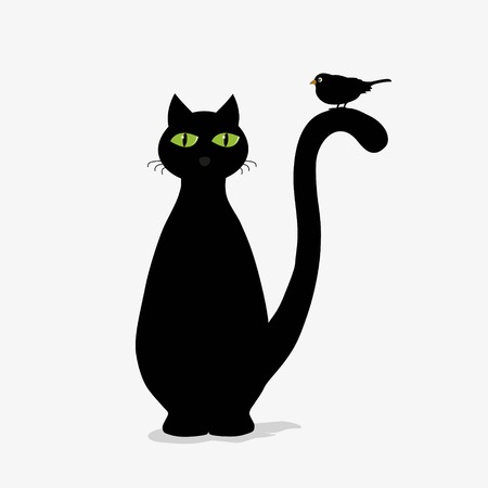black and white image drawing: Cute black cat and bird on white background
