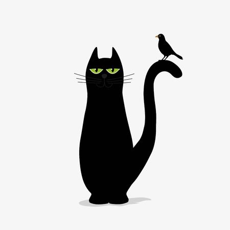 Cute black cat and bird on white background
