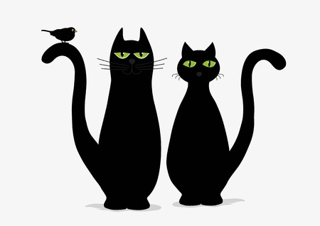 black and white image drawing: Two cute black cats and bird on white background
