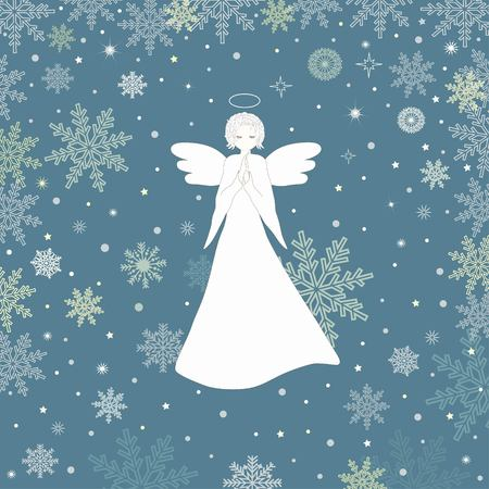 seasons cartoon: Christmas  background with angel Illustration