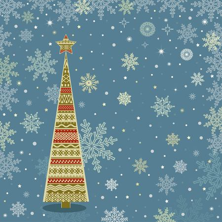 postcard background: Greeting card with Christmas tree and place for text