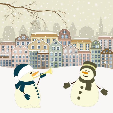 decorated: Christmas greeting card with houses in winter and snowmen