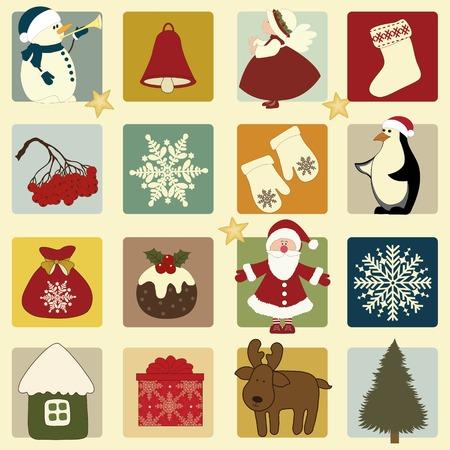Weihnachten Retro-Ikonen, Set von Weihnachten Elemente