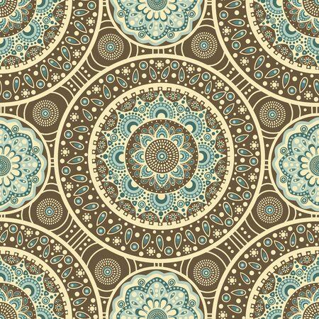 Seamless oriental pattern on brown background