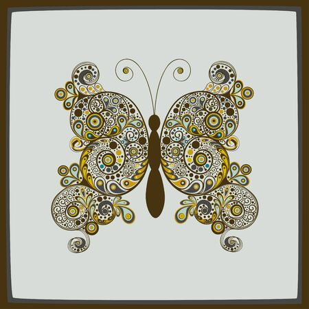 text background: Greeting card with colorful elegant stylized abstract  butterfly