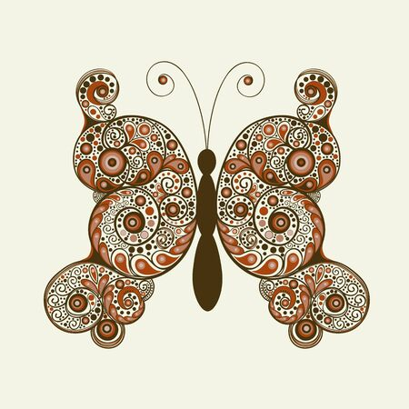 greeting stylized: Greeting card with colorful elegant stylized abstract  butterfly