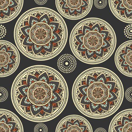Seamless oriental pattern on blue background