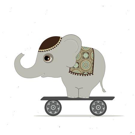 indische muster: Karte mit netten indischen Elefanten auf Roller Illustration