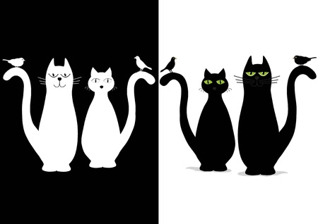 animal silhouette: Black and white cute cats with birds Illustration