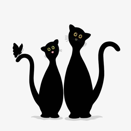 Two cute black cats and butterfly on white background Stock Illustratie