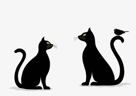 Stylized silhouette of black cats and bird on white background Vettoriali