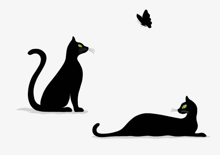 stylised: Stylized silhouette of black cats on white background
