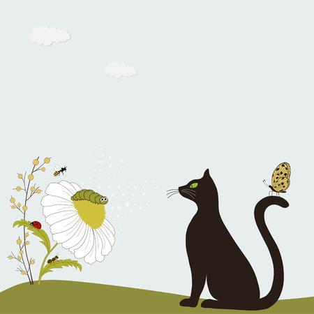 papillon dessin: Cute cat avec de la camomille et les insectes Illustration