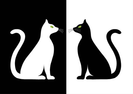 black and white image drawing: Two stylized silhouette of black and white cats