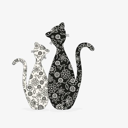 Pair of cats silhouette for your design