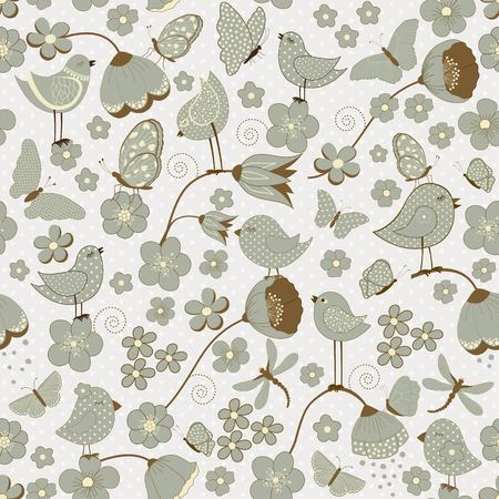 pajaro caricatura: Sin fisuras patrón floral con los pájaros y las mariposas