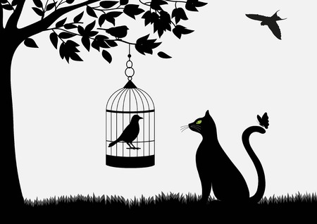 Cute cartoon cat with butterfly and birds Vettoriali