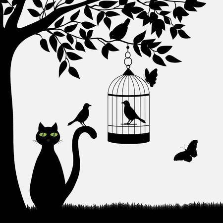 bird illustration: Cute cartoon cat and birds with butterfly