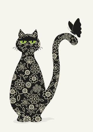 ornamented: Ornamented stylized cat and butterfly   on white background Illustration