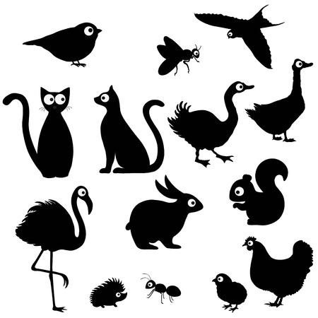 Cute cartoon animals silhouettes on white background Ilustração