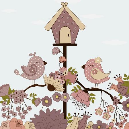 oiseau dessin: Mignon oiseaux sur une branche avec des fleurs Illustration