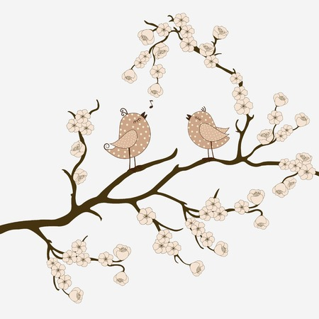 birds on branch: Cute birds on branch with flowers Illustration