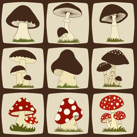 Ensemble de champignons de bande dessinée Vecteurs