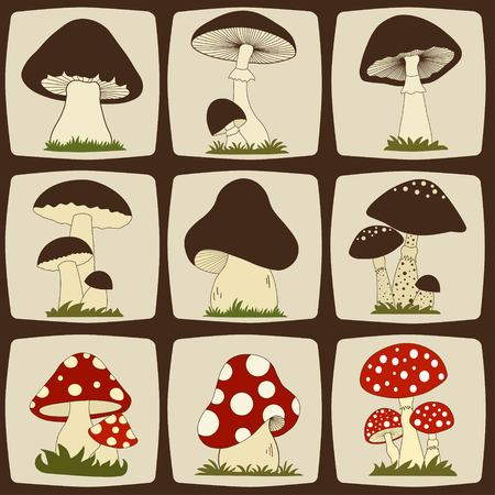 Set of cartoon mushrooms