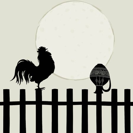 fences: Rooster on the fence Illustration