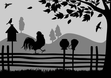 Gallo en la cerca con el árbol Ilustración de vector