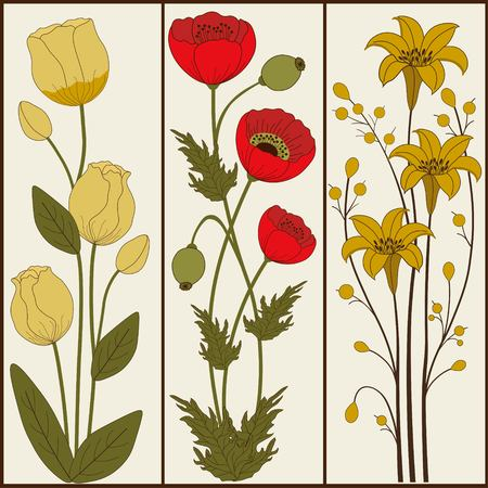 lily flowers collection: Set of floral banners  on beige background