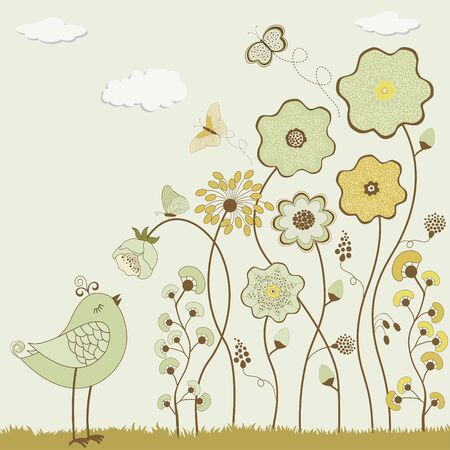 abstract flowers: Abstract flowers with butterflies and bird