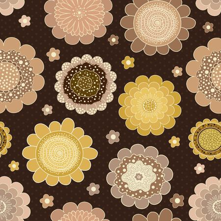 Seamless colorful abstract pattern on brown background