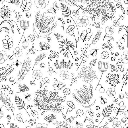 patrones de flores: resumen patrón floral sin fisuras en el fondo blanco Vectores